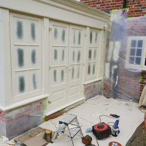 Windows like this are a perfect application for Liquid Masking Tape.